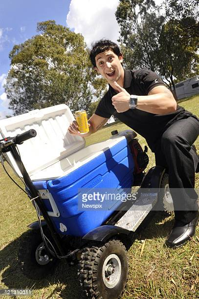 Christopher Petrie sits on his motorised esky on August 16 2011 in Noosa Australia Petrie was charged by Police after he drove the motorised esky on...