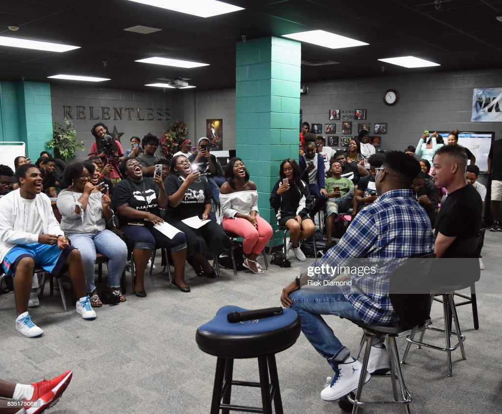 Christopher 'PLAY' Martin and Christopher 'KID' Reid attend NMAAM Music Legends and Heroes Hip Hop Duo Kid 'N Play Visit Pearl Cohn High School on August 18, 2017 in Nashville, Tennessee.