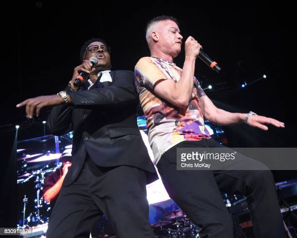 Christopher Play Martin and Christopher Kid Reid of Kid N Play perform during the KISS 1041 Flashback Festival at Lakewood Amphitheatre on August 12...