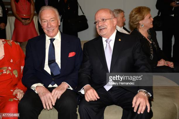Christopher Plummer and Dr Eduardo Padron attend private reception for their film Elsa and Fred at Gusman Center for the Performing Arts on March 7...