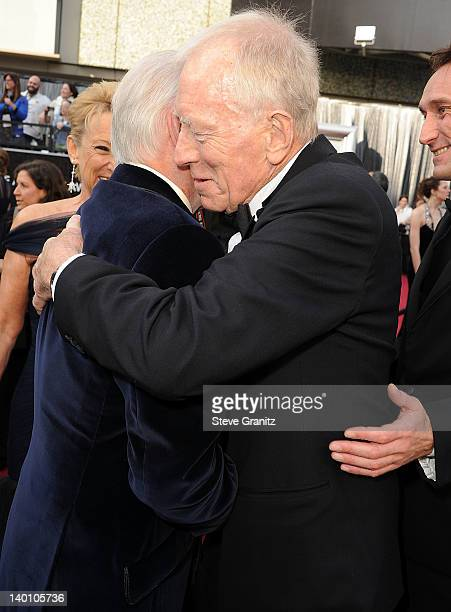 Christopher Plummer Catherine Berlet and Max von Sydow arrives at the 84th Annual Academy Awards at Grauman's Chinese Theatre on February 26 2012 in...