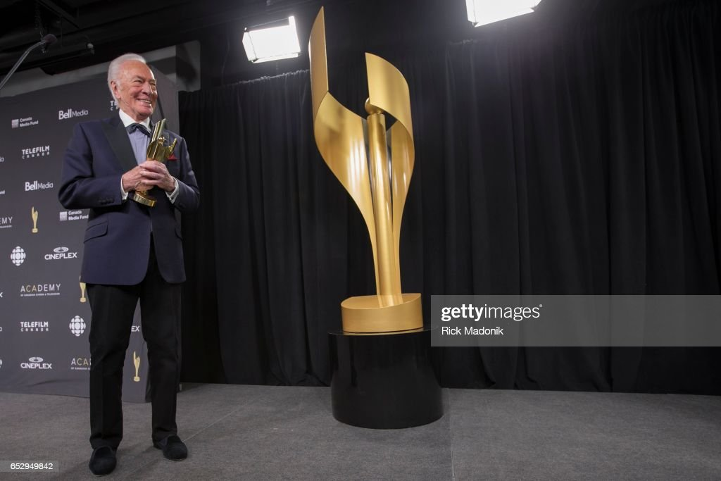 Christopher Plummer with his award, after its presentation on stage. Canadian Screen Awards red carpet at Sony Centre for the Performing Arts ahead of the show.