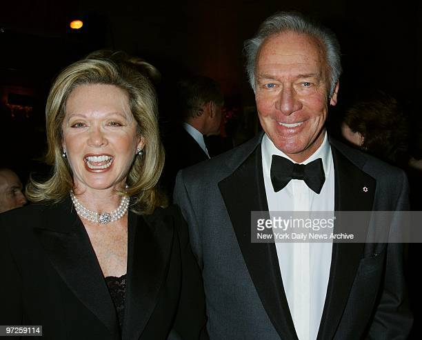 Christopher Plummer with wife Elaine Taylor at the Roundabout Theatre Company's 2002 Spring Gala at Cipriani 42nd Street where he was honored with...