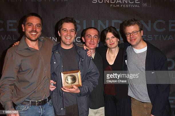 """Christopher Quinn , director of """"God Grew Tired of Us"""" and winner of the Grand Jury Prize for Documentary, with Paul Daley, Geoffrey Richman, Molly..."""