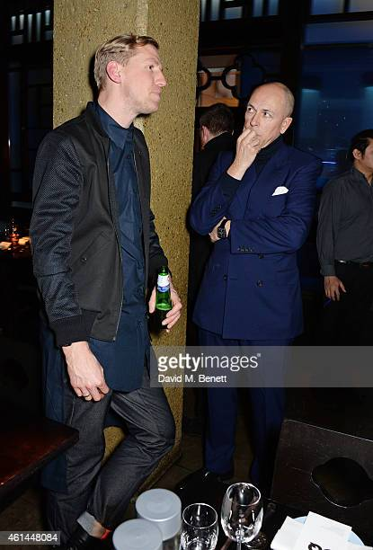 Christopher Raeburn and Dylan Jones attend the GQ London Collections Men AW15 closing dinner at Hakkasan Hanway Place on January 12 2015 in London...