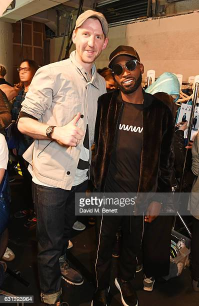 Christopher Raeburn and Tinie Tempah pose backstage at the Christopher Raeburn show during London Fashion Week Men's January 2017 collections at BFC...