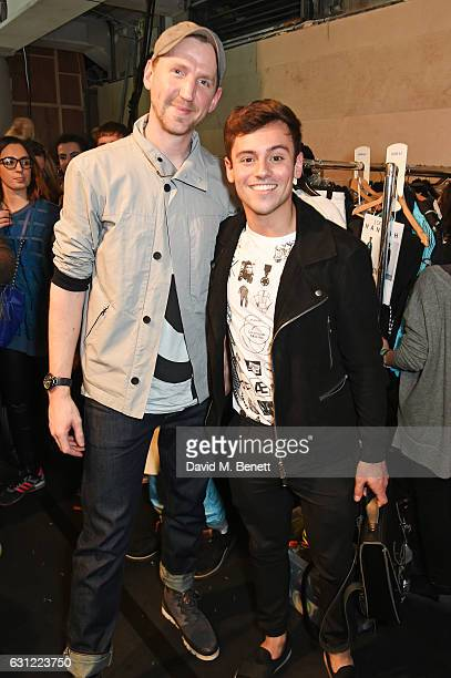 Christopher Raeburn and Tom Daley pose backstage at the Christopher Raeburn show during London Fashion Week Men's January 2017 collections at BFC...