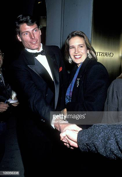"""Christopher Reeve and Dana Reeve during """"Mr. And Mrs. Bridge"""" Pre-Party at Christie's Auction House in New York City, New York, United States."""