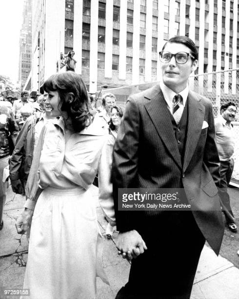 Christopher Reeve and Margot Kidder during filming of Superman on 42nd St