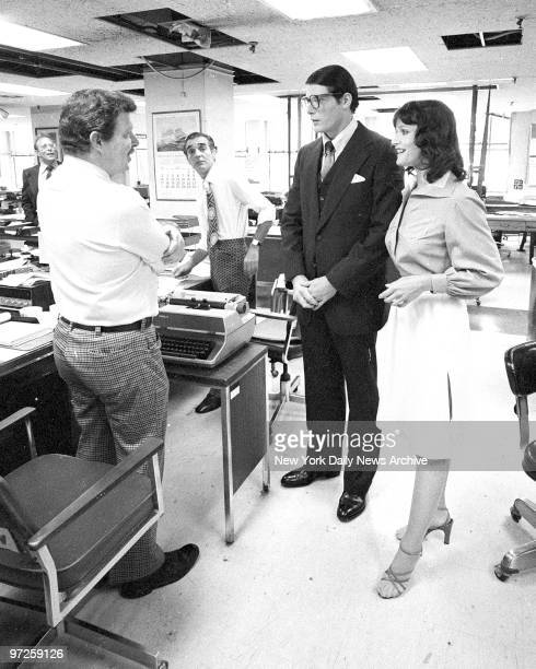 Christopher Reeve and Margot Kidder filming Superman at the New York Daily News building at 220 E 42nd St