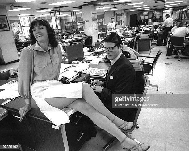 Christopher Reeve and Margot Kidder filming 'Superman' at the New York Daily News building at 220 E 42nd St