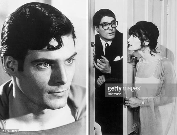 Christopher Reeve as Superman and as Clark Kent with Lois Lane played by Margot Kidder in the 1978 film Superman The Movie