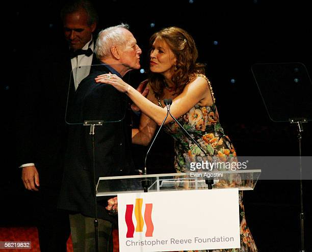 """Christopher Reeve Foundation Chairman Dana Reeve introduces actor Paul Newman at the Christopher Reeve Foundation's """"A Magical Evening"""" at the..."""