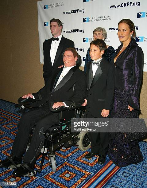Christopher Reeve poses with his family during the Magical Birthday Bash celebrating the birthdays of Christopher Reeve Michael Douglas Catherine...