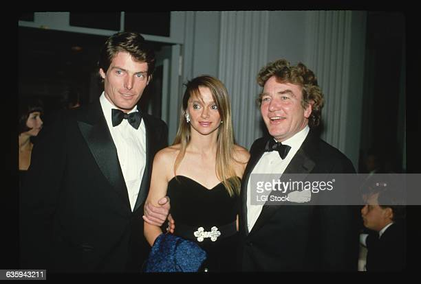 Christopher Reeve poses with his girlfriend Gae Exton and actor Albert Finney