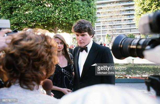 Christopher Reeve with Gae Exton arrive to the 55th Academy Awards at Dorothy Chandler Pavilion in Los AngelesCalifornia