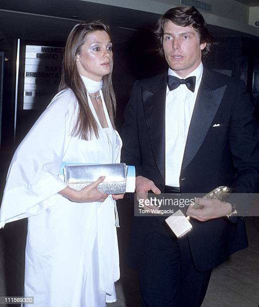Christopher Reeve with girlfriend Gae Exton during 1979 BAFTAs Awards March 12 1979 at Wembley Conference Centre in London Great Britain