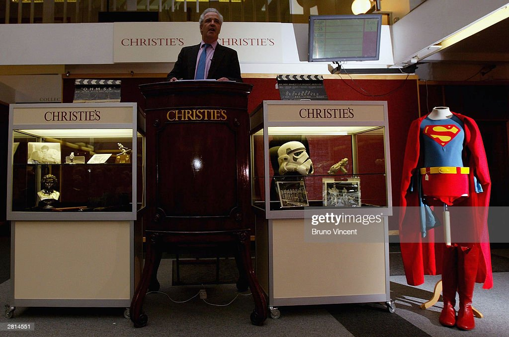 Christopher Reeve's costume from 'Superman' is seen on display at an auction at Christie's auction house December 16, 2003 in London. Christie's annual Film and Entertainment auction takes place today at the South Kensington showroom.