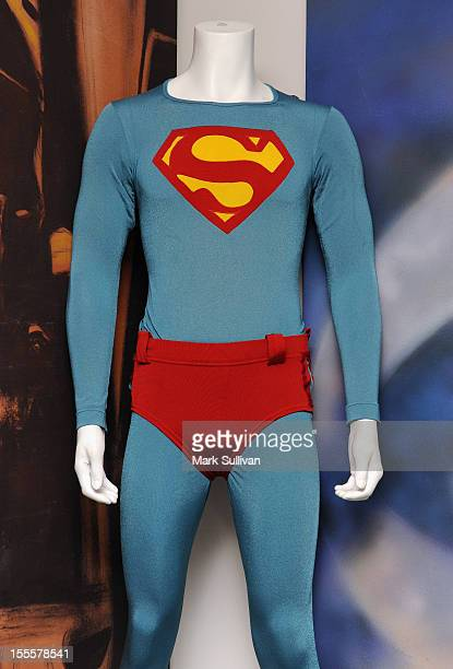 Christopher Reeve's Superman costume from 'Superman IV The Quest for Peace' on display during preview of Julien's Auctions Hollywood Icons Idols 2012...
