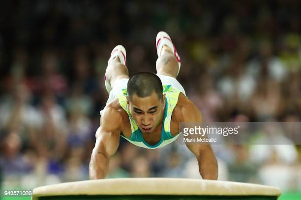 Christopher Remkes of Australia competes in the MenÕs Vault Final during Gymnastics on day five of the Gold Coast 2018 Commonwealth Games at Coomera...