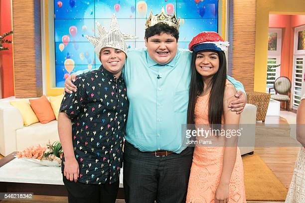 Christopher Rivera Winner of 'La Voz Kids' and Axel Cabrera Alejandra Gallardo finalist attend 'Un Nuevo Dia' at Telemundo Studio on July 11 2016 in...