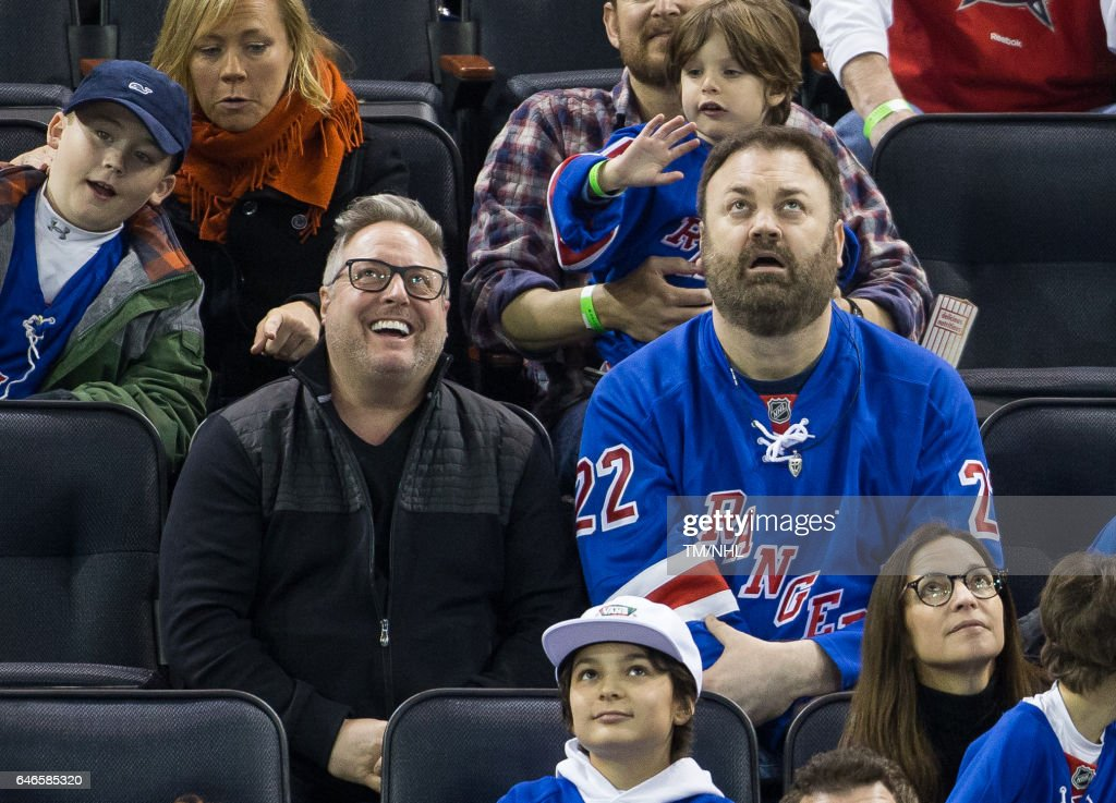Christopher Roach And Gary Valentine Are Seen At Madison Square Garden On  February 28, 2017