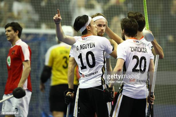 Christopher Ruehr of Germany celebrates after scoring during the Mens Gold Medal Indoor Hockey World Cup Berlin Final Day match between Germany and...