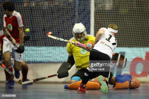Christopher Ruehr of Germany scores his first goal during the Mens Gold Medal Indoor Hockey World Cup Berlin Final Day match between Germany and...