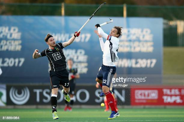 Christopher Ruhr of Germany and Victor Charlet of Frane battle for possession during the Quarter final match between Germany and France during Day 6...