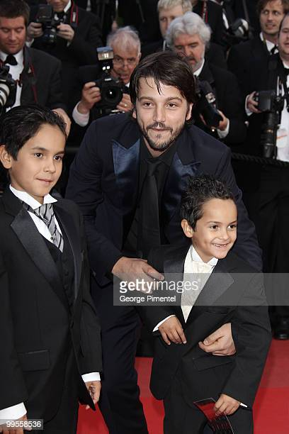Christopher RuizEsparza actor Diego Luna and actor Gerardo RuizEsparza attend the Premiere of 'Wall Street Money Never Sleeps' held at the Palais des...