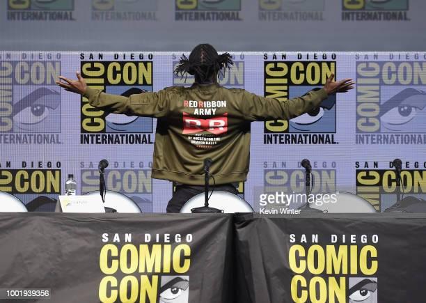 Christopher Sabat Sean Schemmel Akio Iyoku and Norihiro Hayashida speak onstage during the Dragon Ball Super panel during ComicCon International 2018...