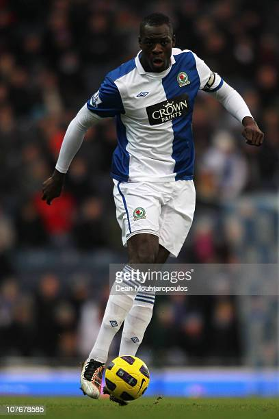 Christopher Samba of Blackburn in action during the Barclays Premier League match between Blackburn Rovers and West Ham United at Ewood park on...