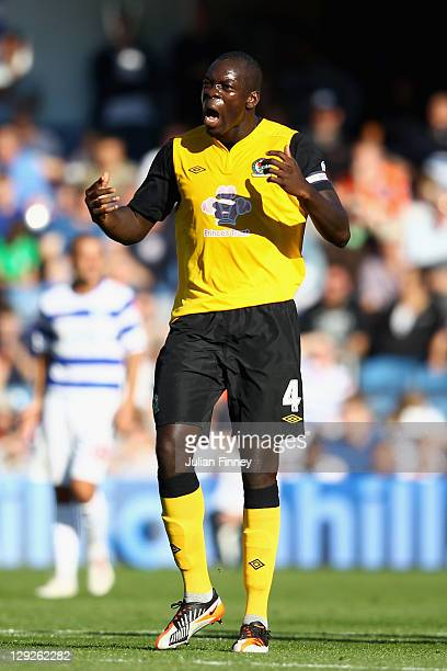 Christopher Samba of Blackburn Rovers celebrates scoring the equalising goal during the Barclays Premier League match between Queens Park Rangers and...