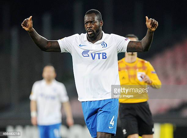 Christopher Samba of Dinamo Moskva in action during the UEFA Europa League Round of 16 football match between SSC Napoli and FC Dinamo Moskva at the...