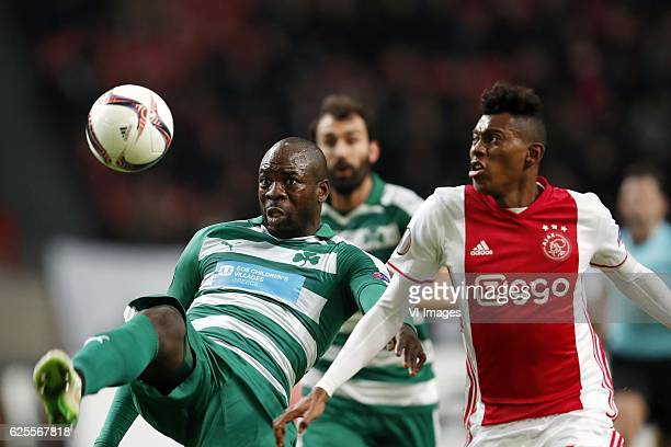 Christopher Samba of Panathinaikos FC Mateo Cassierra of Ajaxduring the UEFA Europa League group G match between Ajax Amsterdam and Panathinaikos FC...