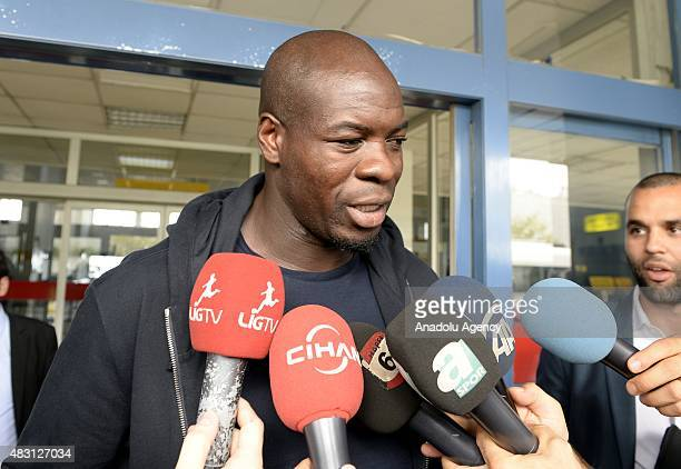 Christopher Samba who reached agreement in principle with Trabzonspor speaks to media during his arrival in Trabzon Turkey on August 06 2015