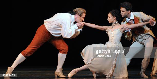 Christopher Saunders as Monsieur GM Francesca Hayward as Manon and Alexander Campbell as Lescaut in the Royal Ballet's production of Kenneth...