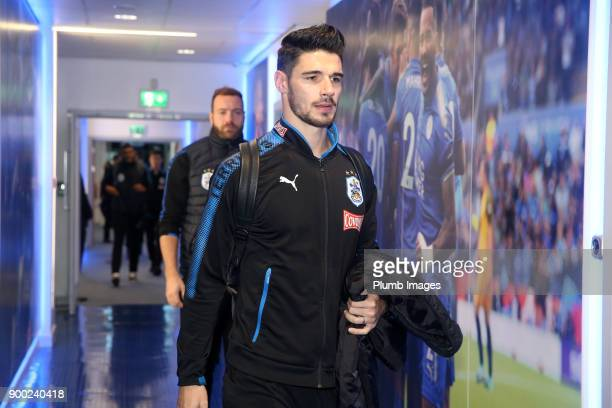 Christopher Schindler of Huddersfield arrives at King Power Stadium ahead of the Premier League match between Leicester City and Huddersfield at King...