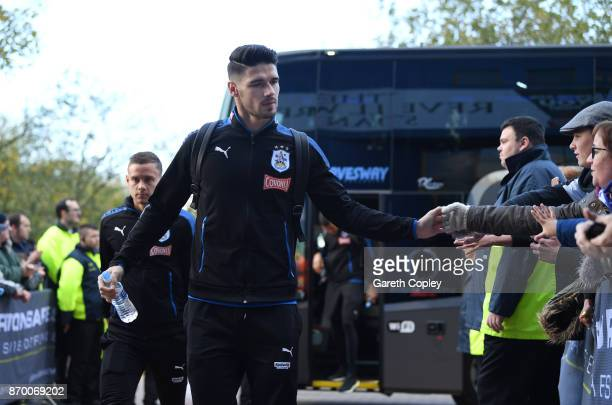 Christopher Schindler of Huddersfield Town arrives prior to the Premier League match between Huddersfield Town and West Bromwich Albion at John...