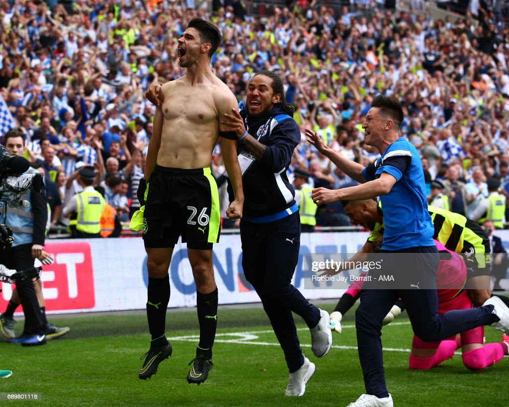Christopher Schindler of Huddersfield Town celebrates after scoring the winning penalty during the Sky Bet Championship Play Off Final match between Reading and Huddersfield Town at Wembley Stadium on May 29, 2017 in London, England.