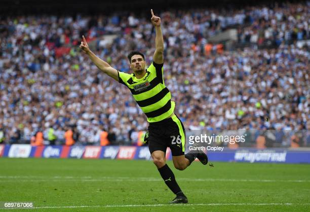 Christopher Schindler of Huddersfield Town celebrates scoring the winning penalty in the penalty shoot out after the Sky Bet Championship play off...
