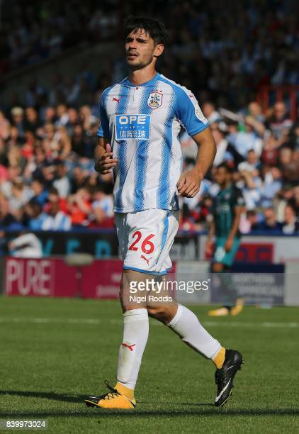 Christopher Schindler of Huddersfield Town during the Premier League match between Huddersfield Town and Southampton at Galpharm Stadium on August 26...