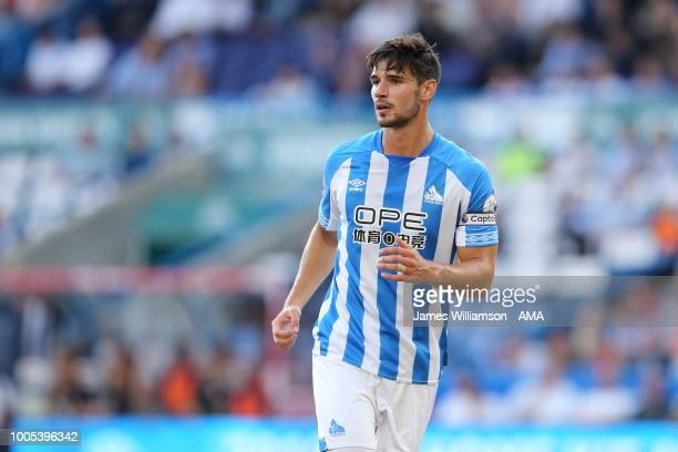 Christopher Schindler of Huddersfield Town during the preseason friendly between Huddersfield Town and Olympique Lyonnais at John Smith's Stadium on...