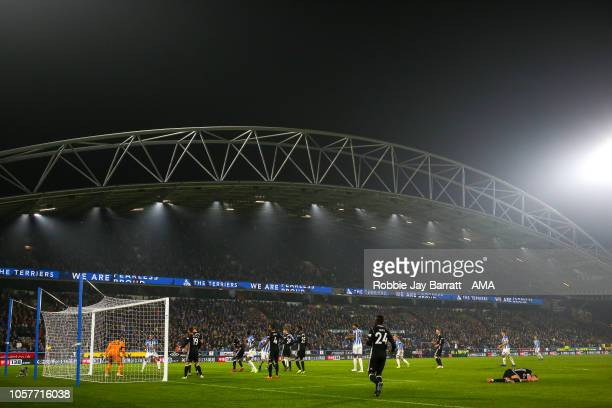 Christopher Schindler of Huddersfield Town scores a goal to make it 10 during the Premier League match between Huddersfield Town and Fulham FC at...