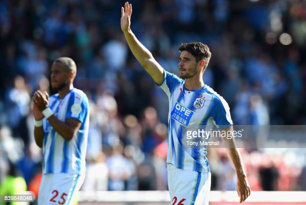 Christopher Schindler of Huddersfield Town shows appreciation to the fans after the Premier League match between Huddersfield Town and Southampton at...