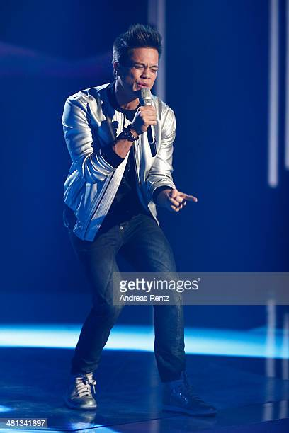 Christopher Schnell performs at the rehearsal for the 1st 'Deutschland sucht den Superstar' show at Coloneum on March 29 2014 in Cologne Germany