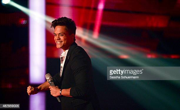 Christopher Schnell performs at the rehearsal for the 2nd 'Deutschland sucht den Superstar' show at Coloneum on April 5 2014 in Cologne Germany