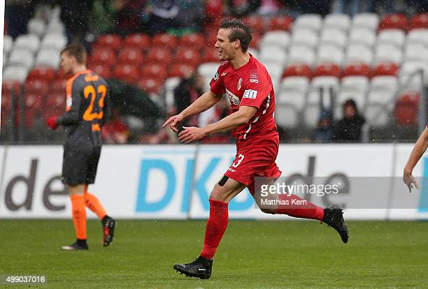 Christopher Schorch of Cottbus jubilates after scoring the first goal during the third league match between FC Energie Cottbus and RW Erfurt at...