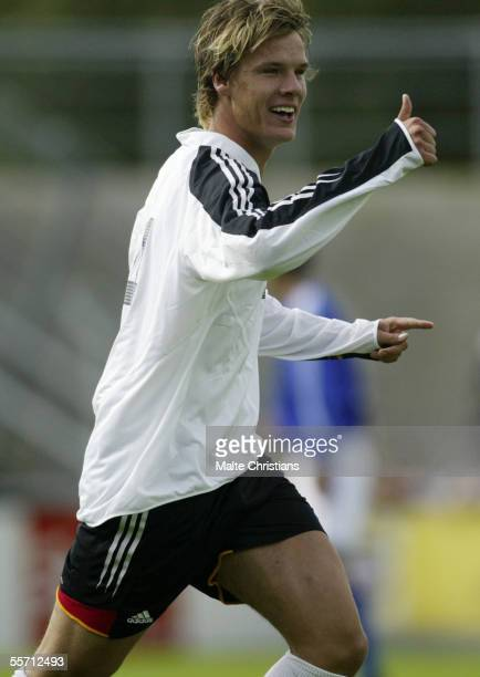 Christopher Schorch of Germany celebrates a goal during the men's under 17 Four Nations Tournament match between Germany and Japan at the Jade...