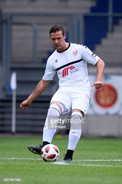Christopher Schorch of KFC Uerdingen controls the ball during the 3 Liga match between KFC Uerdingen 05 and SpVgg Unterhaching at GrotenburgStadion...